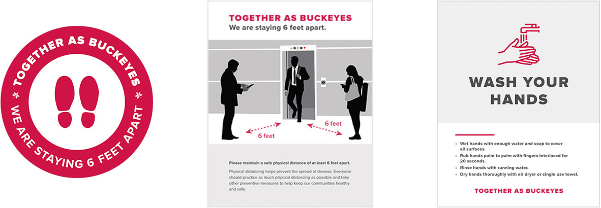 These graphics show the ways that people will be reminded to physically distance or take part in safety practices around campus.