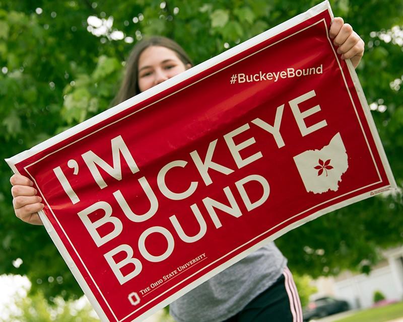 Future student with Buckeye Bound yard sign