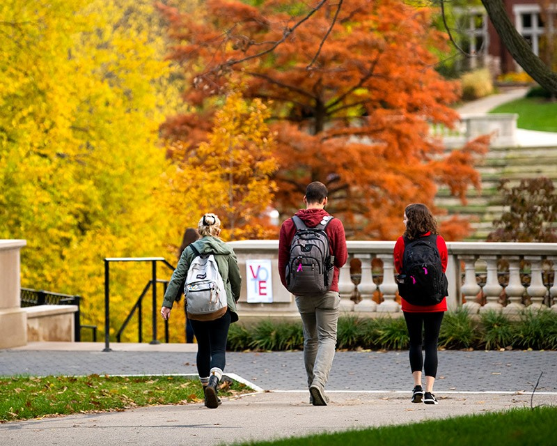 Three students walking on campus among fall leaves on trees